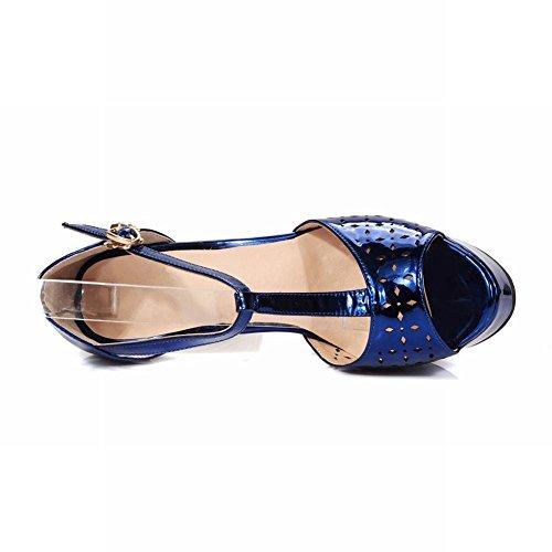 Mee Shoes Damen modern reizvoll Peep toe t-strap mit Löcher Knöchelriemchen Lackleder runde Plateau Sandalen mit hohen Absätzen Blau