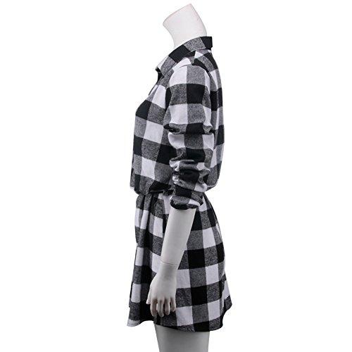 Vertvie Femme Chemisier Robe à Carreaux Manches Longues Top Blouse Casual Blanc