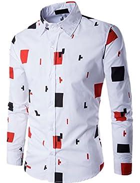 CHENGYANG Uomo T-Shirt Moda Slim Fit Manica Lunga Stampa Camicia Casual Camicetta Shirts Top