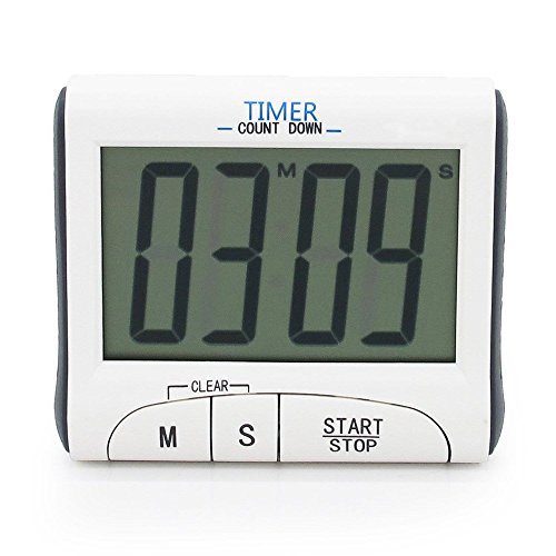 Grand écran LCD Cuisine Numérique Compte à rebours Count Up Down Alarme puissante Minuteur de Cuisine/Sport Chronomètres avec Fonction Horloge, Blanc