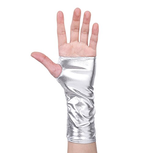 YOOJIA Damen Handschuhe aus Lackleder Wetlook Metallic Halbhandschuhe Leder Optik fingerlos Stulpenhandschuhe für Party Kostüm Silber One Size