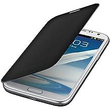 kwmobile Funda potectora práctica y chic FLIP COVER para Samsung Galaxy Note 2 en negro