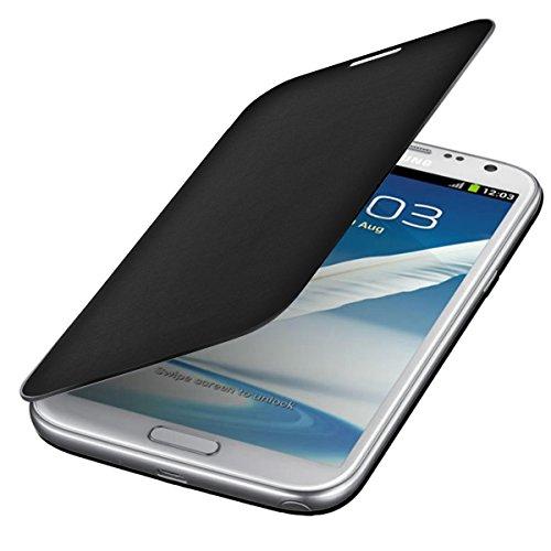 Custodia protettiva pratica e chic FLIP COVER per Samsung Galaxy Note 2 N7100 in Nero firmata kwmobile