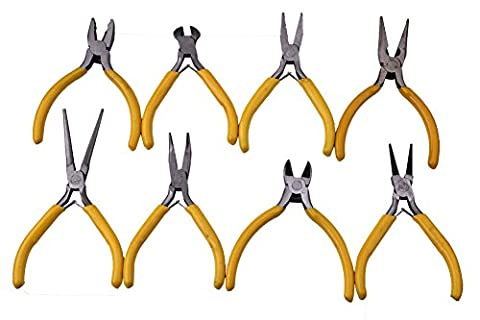 Yeeco 8-Piece Mini Utility Pliers Set, Linesman Pliers, Long Nose/ Diagonal/ Curved Bend/ Needle Nose/ Round Nose/ Flat Pliers, Solid Joint End Cutting Cushion Grip Wire Nipper Leaf Spring Repair Tool