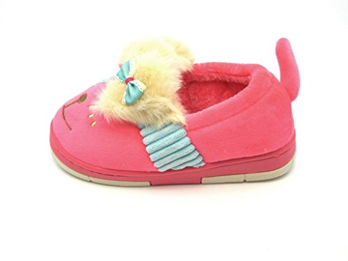 Tante Tina - Kinder Hausschuhe / Pantoffeln in Hunde Motiv Pink