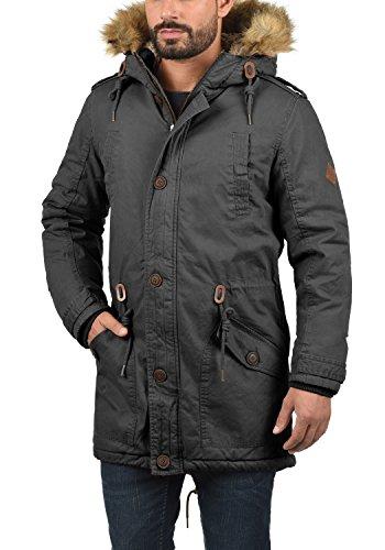 SOLID Clarki Teddy Herren Parka lange Winterjacke Mantel mit Fell-Kapuze und Teddy-Futter aus 100% Baumwolle Dark Grey (2890)