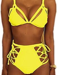 Vandot Mujeres Color Fluorescente Push Up Bikini Playa Trajes de Baño Swimsuit Swimwear Alta Cintura Bikini Swimwear Dos Piezas Bañador con Halter Top y Bottom, Fluorescencia Amarillo S-XL