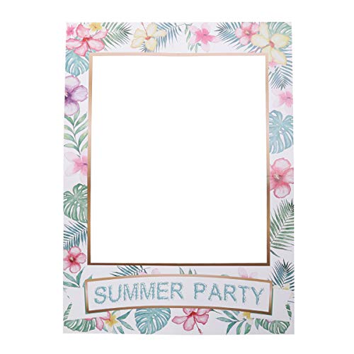 Amosfun Hawaiian Summer Photo Frame Sommer Party Foto Booth Requisiten DIY Papier Foto Requisiten Urlaub Parteibevorzugung Liefert