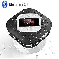 Radio de Ducha Impermeable con Ventosa, AGPTEK Altavoz Bluetooth V4.1 con Funciones de Radio FM, Manos Libre, Reloj ect, Color Negro