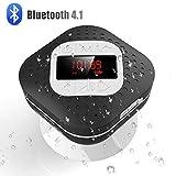 AGPTEK Bluetooth 4.1 Duschradio mit LED Digitalem Bildschirm, Saugnapf, IPX4 Wasserdicht Wireless Funk Lautsprcher mit Wahlwiederholung und Freisprechenfunktion, Schwarz