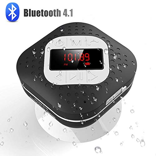 Waterproof Shower Head with Suction Cup, AGPTEK Bluetooth V4.1 Speaker with FM Radio Functions, Hands Free, Ect Clock, Black Color