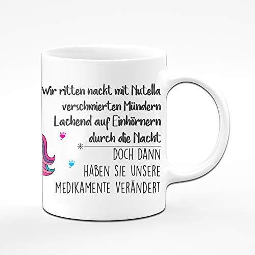 Tassenbrennerei Einhorn Tasse mit Spruch - Vorne Spruch, hinten Einhorn - Tassen mit Sprüchen lustig (Weiß)
