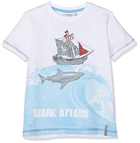 SALT AND PEPPER Jungen Pirates Print T-Shirt, Weiß (White 010), 104 (White Pirate Shirt)
