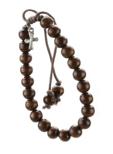 Christian Brown Wood Bead Pewter Flare Cross Bracelet by Dicksons