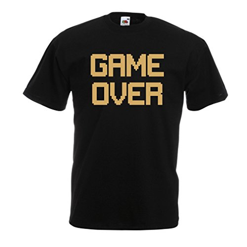 T-shirt da uomo Game Over regali gamer divertenti Nero Oro