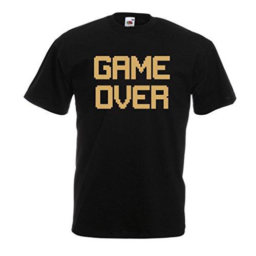 Männer T-Shirt Spiel über lustige Gamergeschenke (X-Large Schwarz Gold)