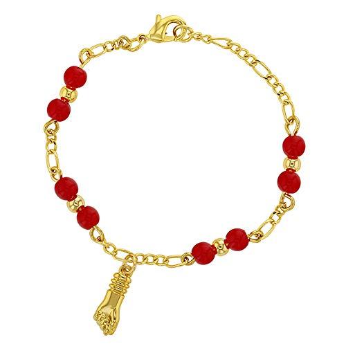 Pulsera de 5 pulgadas chapada en oro de 18 quilates con amuleto de mano y protección contra el mal de ojo, color rojo