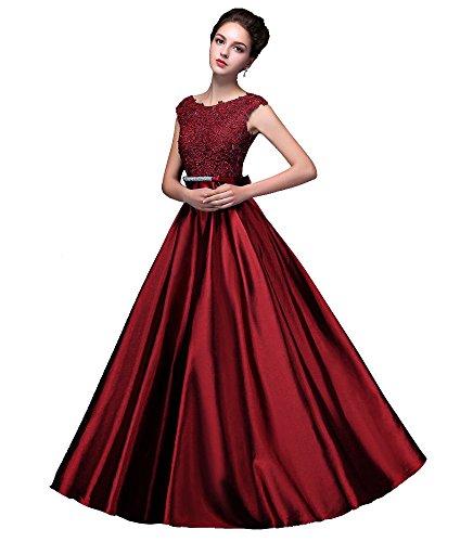 Beauty-Emily Abendkleider Abiball Ballkleider Für Braut Spitze und Glitzer Taft Bowknot V...