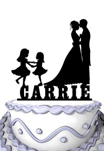 meijiafei Personalisierte Hochzeit Cake Topper, Ihre Namen angepasst Braut und Bräutigam mit 2Mädchen Familie Party Supply