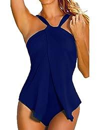 GWELL Damen Elegant Neckholder Badeanzug Einteilige Bikini Swimmanzug 5 Farben w/ählbar