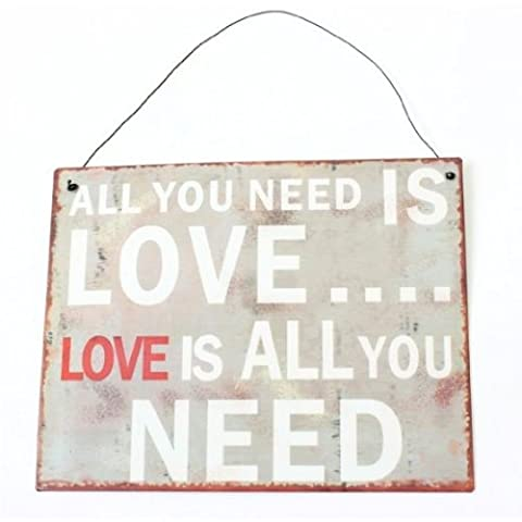 Retro Tin Hanging Sign - All you need is love, love is all you need