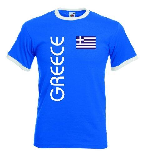 Griechenland Greece Herren Retro T-Shirt blauweiss Trikot|r-xl