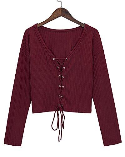 Damen Herbst Lange Ärmel V-Ausschnitt Bluse T-Shirt Hemd Schnür Tops Rot