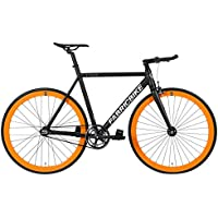 "FabricBike Light - Bicicleta Fixed, Fixie, Single Speed, Cuadro y Horquilla Aluminio, Ruedas 28"", 4 Colores, 3 Tallas, 9.45 kg Aprox. (Light Black & Orange, L-58cm)"