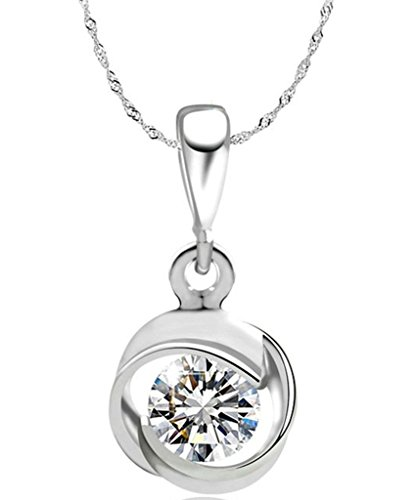 KnSam Damen Platin Platte Für Halskette Runde Brillante Link Weiß Crystal [Neuheit Halskette] - 50 Drive Links