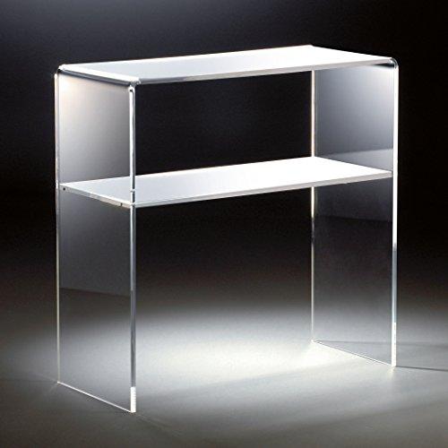 HOWE-Deko Hochwertiges Acryl-Glas Standregal, Konsole mit 2 Fächern, klar/weiß, 70 x 30 cm, H 70 cm, Acryl-Glas-Stärke 12 mm