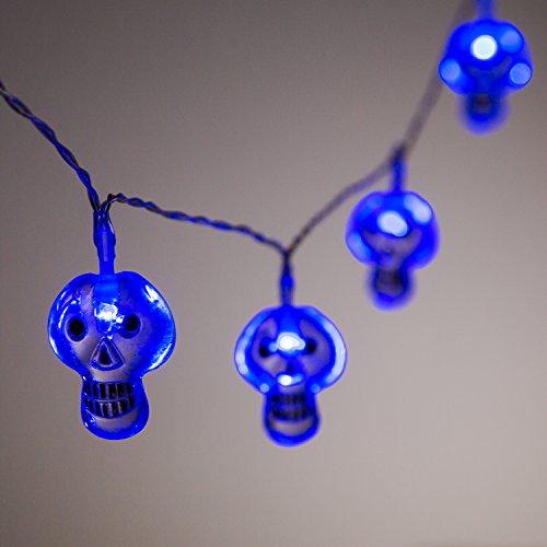 10er Halloween LED Lichterkette Totenkopf (Totenkopf Halloween)