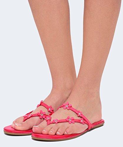 Inuovo Damen Leder-Blume-Schieberegler Lollypop Pink Lollypop Pink