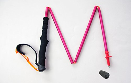 Mountain Yoyo M Serie Ultra Light Gewicht (Aviation Aluminium der Legierung 7075) (198g, Arbeitshemd) Wanderstöcke Trekkingstock Walking Stock faltbar Herren Frauen, Single Pink Red