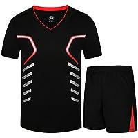 INVACHI Hombre Camiseta de fútbol Baloncesto Camiseta Deportiva Unidad de  Camisetas   Pantalones Cortos Corto Tiempo a0b9b016091f