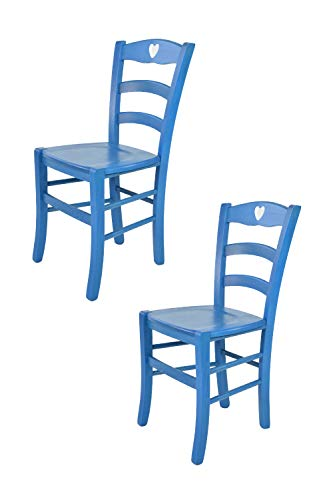 Tommychairs sedie di design - set 2 sedie classiche cuore per cucina, bar e sala da pranzo, con robusta struttura in legno color anilina blu e seduta in legno massello