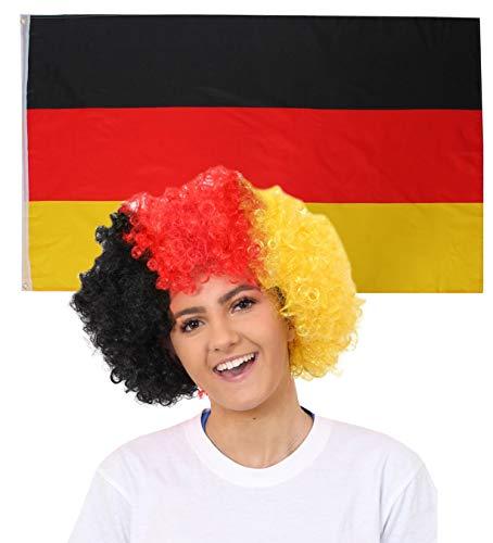 ILOVEFANCYDRESS Deutschland Dekoration KOSTÜM VERKLEIDUNG =MIT+OHNE ZUBEHÖR=Fussball Sport LÄNDER ABMESSUNGEN VON 152cmX91cm=Flagge + DEUTSCHE Farben Afro PERÜCKE