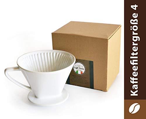 Caffé Italia Permanent Kaffeefilter - Handfilter Kaffee für 2-4 Tassen - Porzellan Kaffeefilter - Dauerfilter für Kaffeefiltertüten der Größe 4 für 2-4 Tassen - weiß