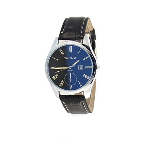 Souarts Mens Black Artificial Leather Blue Ray Glass Quartz Analog Wrist Watch 24cm