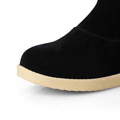 VogueZone009 Damen Ziehen auf Niedriger Absatz Blend-Materialien Oberschenkel Hohe Stiefel, Grau, 41