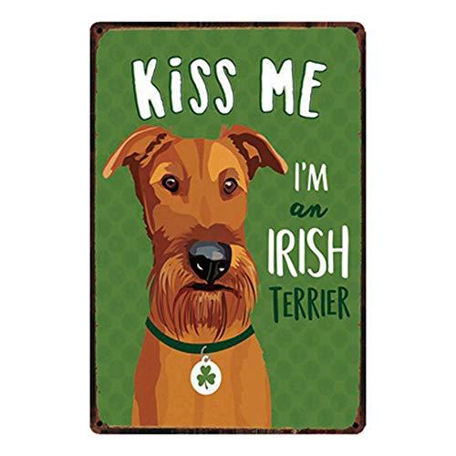 Kiss Me Funny Dog Poster Metall Blechschilder Retro Dekoration Schild Aluminium Blechwaren Vintage Wandkunstplakat Zum Cafe Bar Wohnzimmer Zuhause - Nägel Me Kiss