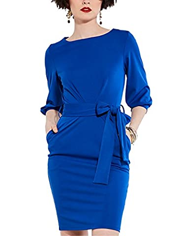 CLOCOLOR Women's Work Office Business Dress Knee-Length Lace-Up Pencil Dress Half Sleeve Round Neck Midi Party Dress Blue