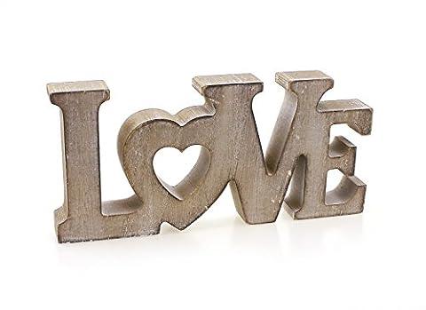 Deko Holzaufsteller Schriftzug Love englisch Liebe 18x8 cm aus Holz braun natur vintage Look, Deko Aufsteller Dekoschild modern mit