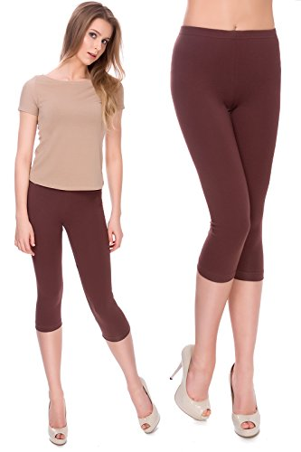 MITAAMI Cropped Leggings for Women 3/4 Length Trousers Plus Size 8-28 UK
