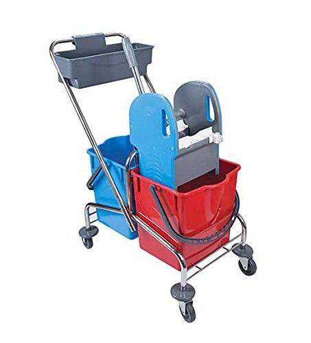 Doppelfahrwagen aus Metall mit 2 Eimern mit 17 Litern in rot/blau, Reinigungswagen mit Mopp-Presse und Ablagekorb, Putzwagen mit Doppelfahreimer