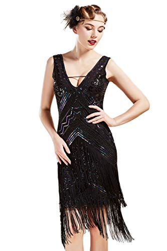 Coucoland 1920s Kleid Damen Flapper Charleston Kleid Sexy V Ausschnitt Great Gatsby Motto Party Damen Fasching Kostüm Kleid (Bunt Schwarz, S)