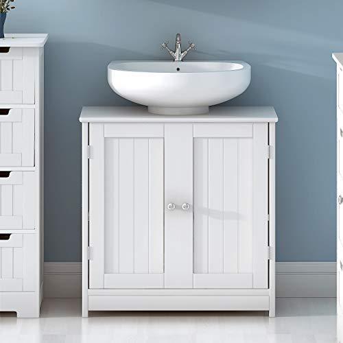 shougui trade Weiße Becken-Eitelkeits-Kabinett-Badezimmer-Speicher-Möbel-Wannen-Maßeinheit, klassischer hölzerner unter Wannen-Waschbecken-Speicherschrank, 2 Tür -
