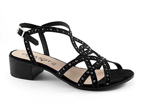 CINZIA SOFT IZ77800 nero scarpe sandali donna pelle cinturino Nero