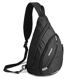 ANCHEER Sling Bag Lightweight Chest Sling Shoulder Bag Multi-Pockets Crossbody Packs Multipurpose Canvas Daypacks School Handbag for Men &Women for Travel Hiking Sport Outdoor Gym