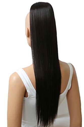 PRETTYSHOP 60cm Haarteil Zopf Pferdeschwanz glatt Haarverlängerung hitzebeständig wie Echthaar dunkelbraun #2 H602