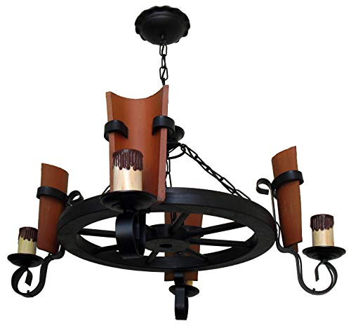 Rustikale Wagenradleuchte, 4 Lichter mit Dach, Gesamtdurchmesser 70 cm (Dach Mit Licht)